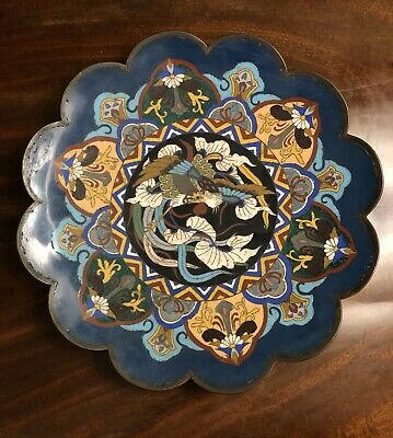 Cloisonné Enamel Dish Meiji Era Japan Art Bonhams Provenance Bird Design Antique