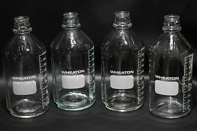Lot of (4) WHEATON 1000ml Glass Graduated Media Storage Bottles w/ out Caps