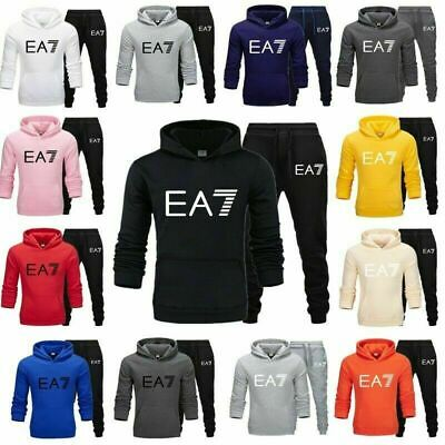 EA7 Mens Full Tracksuit Set Fleece Hoodie Bottoms Sportswear Jogger Trackies Gym