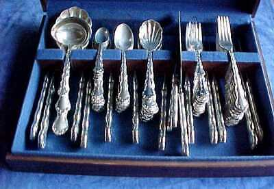 Reed & Barton Tara Sterling Silverware Set For 12+Servers +Wood Chest No Monos