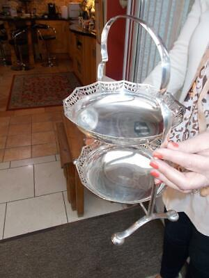ANTIQUE EARLY 1920-30s  2 TIER SILVER PLATED CAKE STAND IN LOVELY CONDITION