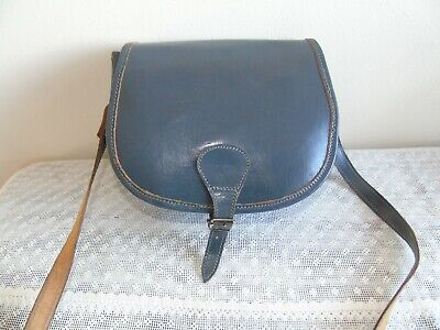 Vintage 1970s Grey Leather Saddle Bag ~ Small ~ Hand Crafted ~ Adjustable Strap