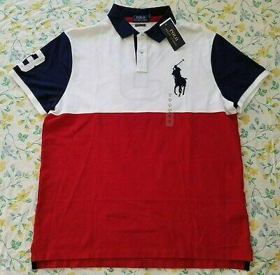 New Mens Polo Ralph Lauren Multicolor Custom Slim Fit XL Polo Shirt