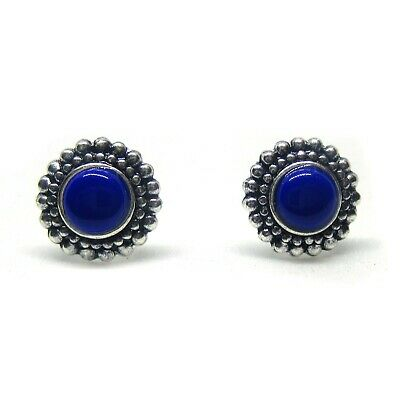 Oxidised Bali Style 925 Sterling Silver & Blue Resin Round Stud Earrings 8 mm