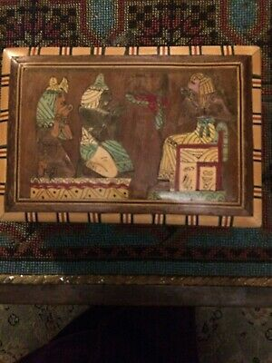 Inlaid  Box brass,copper and wood Egyptian scene