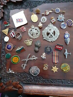 A collection of vintage military & Enamelled Badges & small medal job lot
