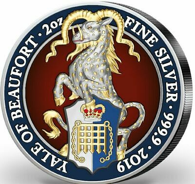 2019 UK 2 oz Silver Queen's Beasts The Yale of Beaufort Colorised Silver Coin
