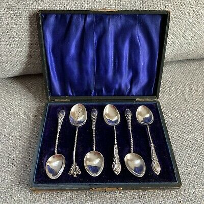 6 Antique Solid Sterling Silver Barley Twist Teaspoons
