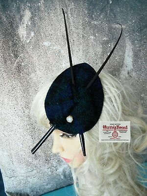 Stunning Black Watch HARRIS TWEED Fascinator Country Races Wedding (A)