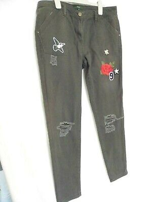 """NEXT Ladies Girls Distressed Jeans Trousers Olive Green - 12 long - 30"""" leg"""