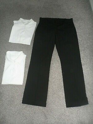 Girl's school bundle age 12-13 yrs, NEW black trousers, white polo