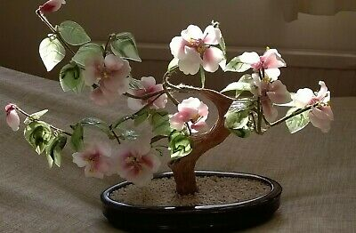vintage large CHINESE TREE GLASS BONSAI CHERRY BLOSSOM TREE PINK GREEN HEAVY