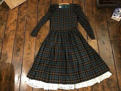 Laura Ashley Vintage Edwardian Victorian Prairie Wool Rich Winter Tartan  Dress