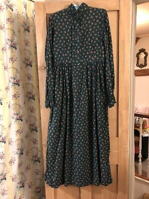 Viyella Vintage Edwardian Victorian Sprig Winter Prairie  Maxi Dress 12 10