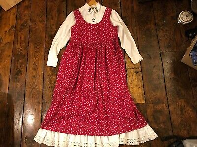 Laura Ashley Vintage Sprig Prairie Chore Pinafore / Jumper Dress 16 14