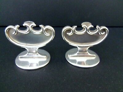 Pair Art Nouveau Goldsmiths English Sterling Silver Antique Place Menu Holders