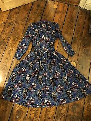 Liberty Vintage 80's Varuna Pure Wool Floral Winter Tea Dress 14 ( 12 )