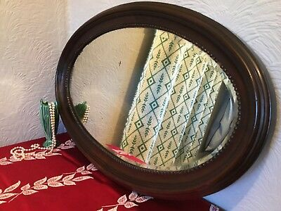 Antique Victorian Large Oval Carved Mahogany Bevelled Wall Mirror #4486