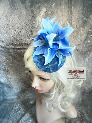 Stunning Blue Tartan HARRIS TWEED Fascinator Country Flowers Lilys (E)