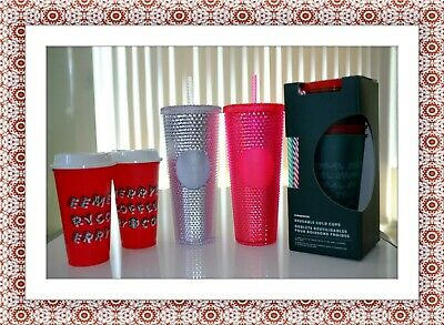 Starbucks Holiday 2019 Venti Reusable Studded Tumblers Cold Cups Set Lot