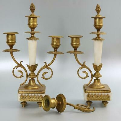 CLOCK GARNITURE CANDELABRA gilt metal and white Carerra marble REPAIR antique