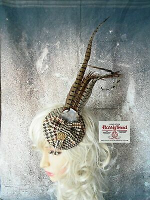 Stunning Brown Dog Tooth HARRIS TWEED Fascinator Country Pheasant Feathers (X)