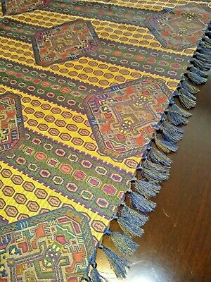 """Tablecloth or Table Scarf Tapestry 53"""" Square Rich Colors Fringe on 2 Sides Mint"""