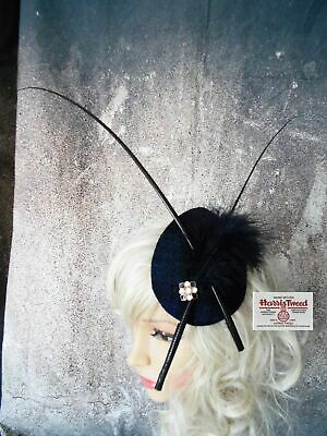 Stunning Black Watch HARRIS TWEED Fascinator Country Feathers (D)