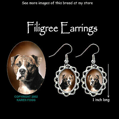 PIT BULL TERRIER DOG Brindle Natural Ears - SILVER FILIGREE EARRINGS Jewelry