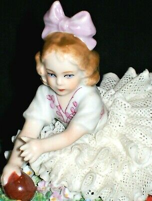 Antique German Dresden Lace Sitzendorf Girl Doll With Ball Porcelain Figurine