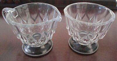 Vintage Clear Chrystal Pressed Glass Italy Silver Plated Footed Creamer & Sugar
