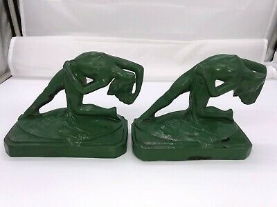 Wonderful Pair of Art Deco Cast Metal Nudes Bookends Frankart Era 1920s/30s