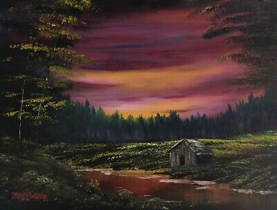 "Bob Ross style oil painting ""Dark Sunset Cabin"" 18x24 MP Jacobs FREE shipping"