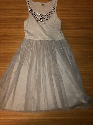 Girls next direct Age 6 Christmas Dress Jeweled Netted Grey Silver