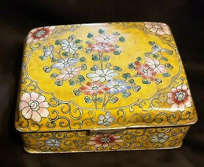 Antique  Chinese Canton Enamel Famille Jaune Jewelry Trinket Box  Footed