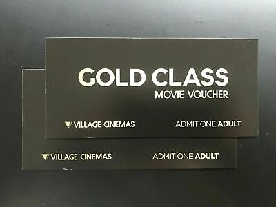 2 (two) Adult Gold Class Movie tickets/vouchers -Expires 31 Mar 2020. RRP $84.00