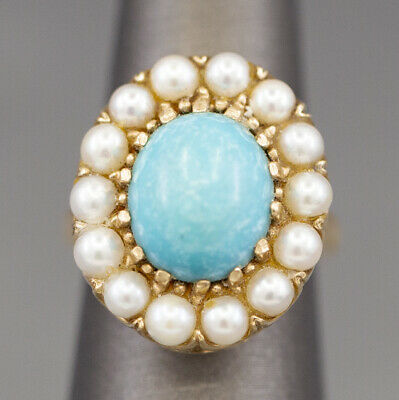 Vintage Persian Turquoise and Pearl Statement Ring in 14k Yellow Gold