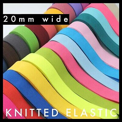 Solid Colour Flat Knit Elastic 20mm width Soft Rubber Knitted