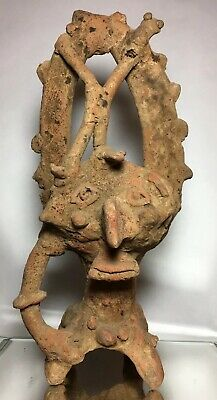 Impressive Pre-Columbian Colima Janus Incensario Statue Terra Cotta Early Art