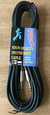 6m Black Electric Guitar Lead Cable, 1/4in jack to jack