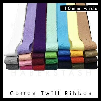 100% Cotton Twill Herringbone 10mm wide Various Colours heading tape