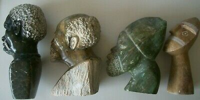 4 Vintage Antique Stone Carved African Head Busts One Signed