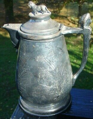 Antique Victorian Stimpson Homan Silverplate Aesthetic Pitcher Lion Lady Figure