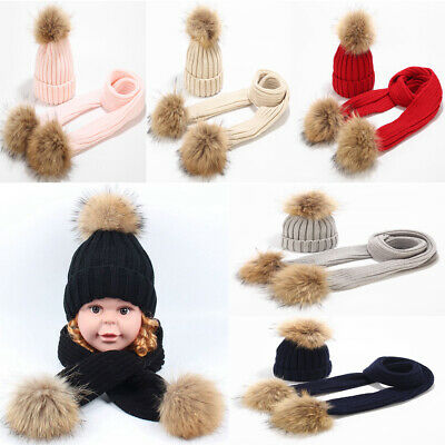Baby Kids Girls Boys 2 Pcs Set Scarf and Hat Pompon Toddler Winter Warm 1-6Years
