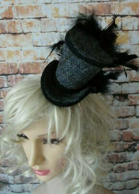 Simple Elegant HARRIS TWEED Grey Black Mini Top Hat Fascinator (HT7)p