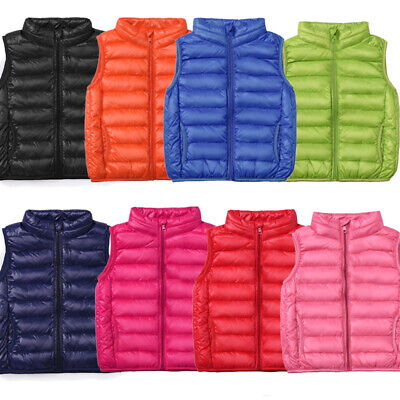 Kids Boys Girls Vest Bodywarmer Gilet Padded Baby Light Jackets Hooded Down Coat