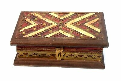 Indian Vintage Hand Crafted Brass & bone Fitted Wooden Trinket Box. G62-203 UK