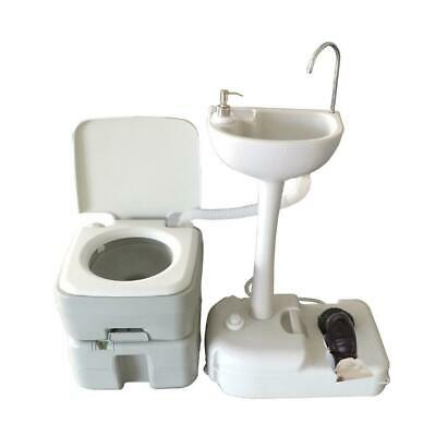 Outdoor Camping Hiking 20L Portable Toilet Flush Commode Potty with Wash Basin