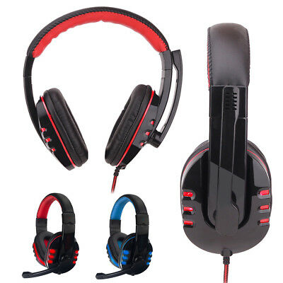 LED Stereo Wired Gaming Headset Headband Headphone USB 3.5mm LED With Mic