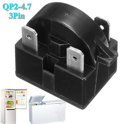 Refrigerator Start Relay for QP-2-4.7 4.7 Ohm 3 Pin Vissani Danby Compressor.